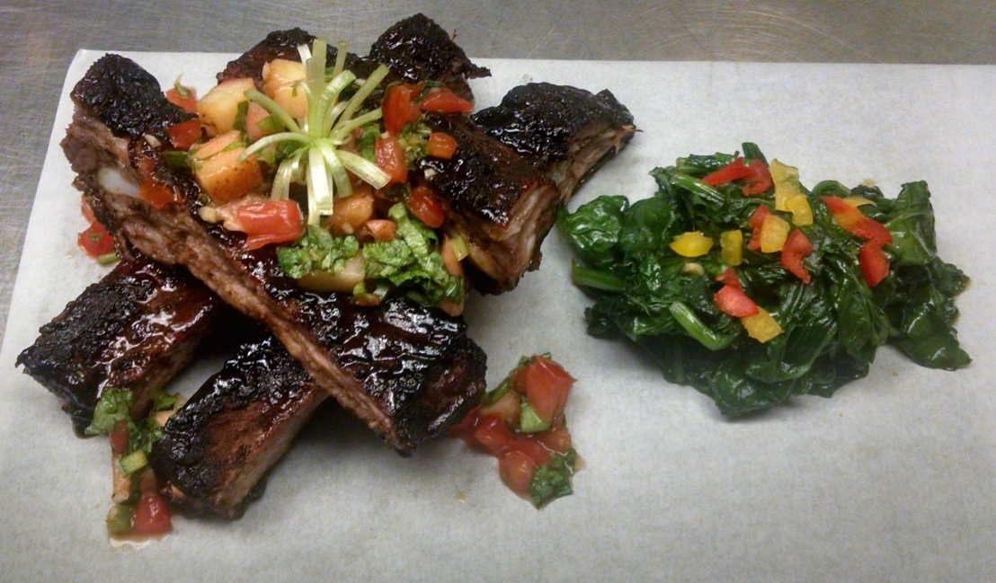 Grilled or Roasted Ribs w/Peach Zing BBQ sauce, Grilled Peach Pico de Gallo & SauteedSpinach