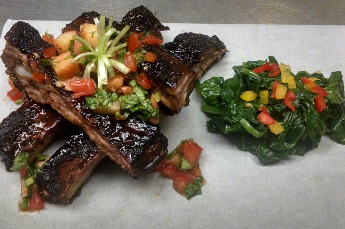 Grilled or Roasted Ribs w/Peach Zing BBQ sauce, Grilled Peach Pico de Gallo & Sauteed Spinach
